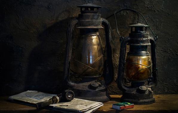 Картинка старина, трубка, фонари, Still life, lanterns