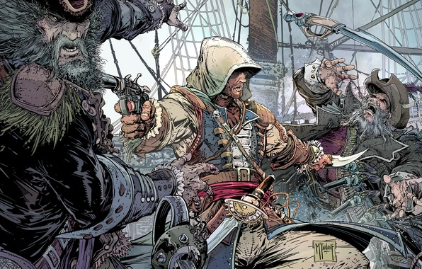 Картинка оружие, корабль, пират, капюшон, борода, битва, постер, убийца, ассасин, poster, пистоль, сабля, Ubisoft Montreal, Эдвард …