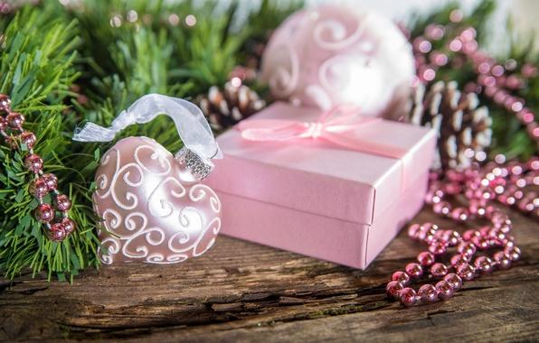 Картинка зима, снег, украшения, праздник, коробка, подарок, сердце, Happy New Year, box, heart, winter, snow, Merry …