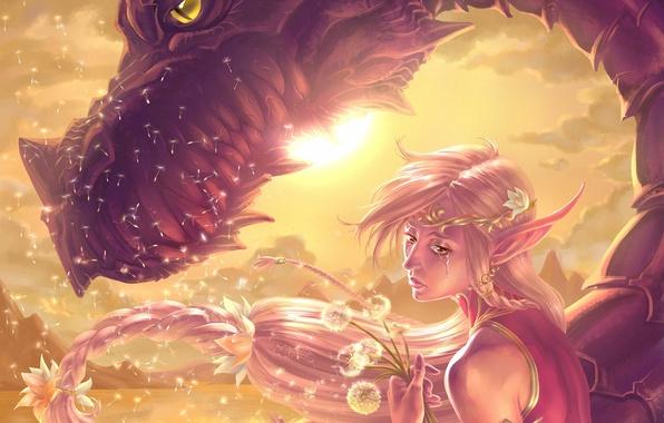 Картинка девушка, солнце, цветы, эмоции, дракон, эльф, фэнтези, арт, эльфийка, одуванчики, слеза