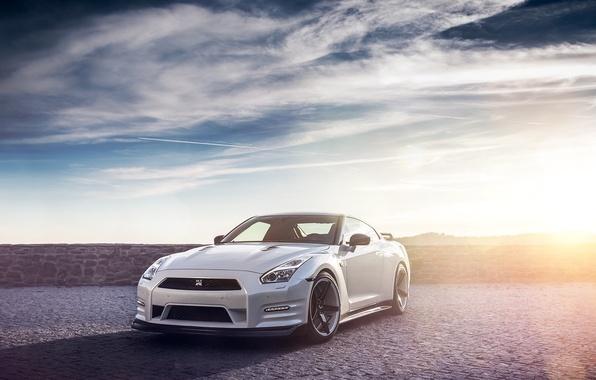 Картинка GTR, Nissan, Sky, Front, Sun, Lights, Day, White, R35
