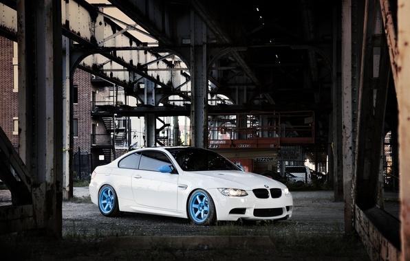 Картинка белый, мост, город, здание, бмв, BMW, white, E92, IND