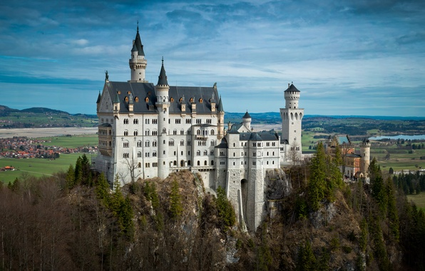 Картинка деревья, река, замок, поля, дома, Германия, Бавария, панорама, Germany, Нойшванштайн, Bavaria, Neuschwanstein Castle