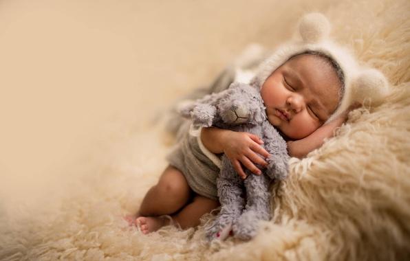Картинка игрушка, сон, мишка, мех, ушки, ребёнок, шапочка, младенец