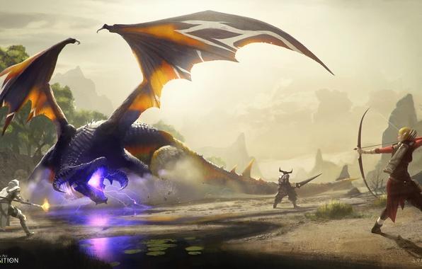 Картинка дракон, воин, лучница, маг, битва, Dragon Age: Inquisition, Gamoran Stormrider, кунари
