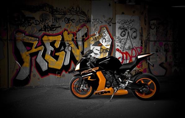 Картинка мотоцикл, wheels, диски, оранжевые, black, bike, KTM, orange, rc8 r, яёрный