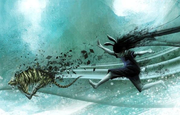 Картинка девушка, абстракция, тигр, рисунок, заяц, бег, уши