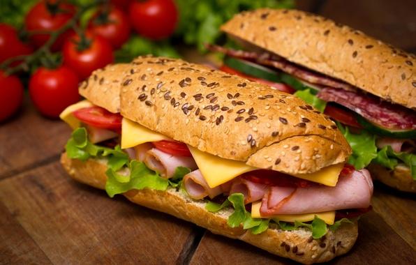 Картинка сыр, помидоры, салат, булочки, черри, бутерброды, балык, ветчина, сэндвичи, батон, салями