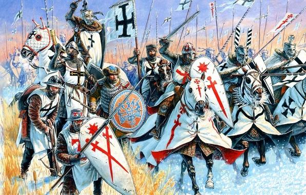 Картинка красный, оружие, атака, черный, рисунок, крест, арт, боевой топор, щиты, наёмник, копья, шлемы, арбалет, магистр, …