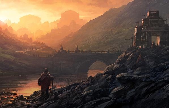 Картинка пейзаж, мост, город, река, восход, камни, люди, замок, холмы, арт, Andreas Rocha