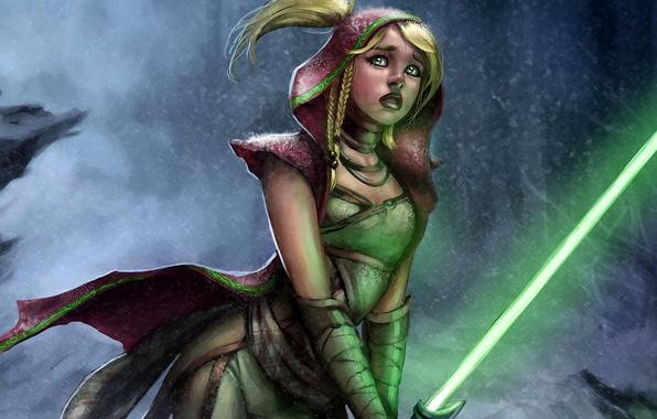 Картинка девушка, дождь, star wars, джедай, световой меч