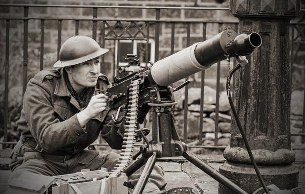 Картинка оружие, солдат, мужчина, пулемёт, станковый, Vickers, «Виккерс»