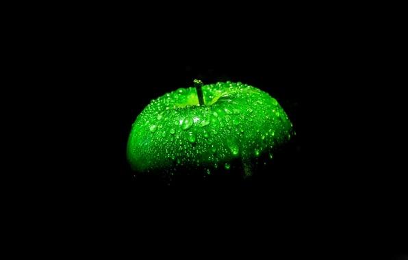 Картинка яблоко, черный фон, зеленое