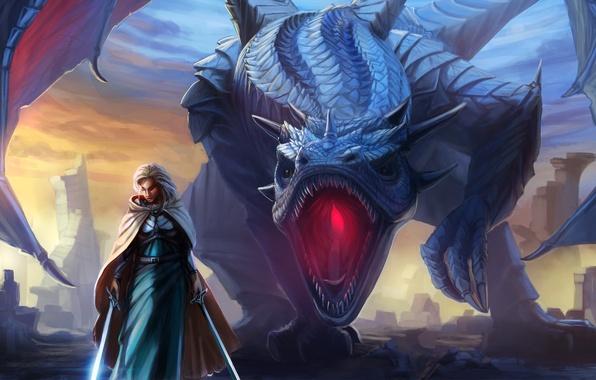 Картинка девушка, дракон, крылья, меч, фэнтези, арт, пасть, плащ