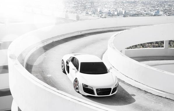 Картинка белый, город, Audi, ауди, парковка, white, блик