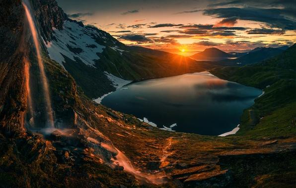 Картинка Sunset, Sunrise, Mountains, Norway, Northern, Lake