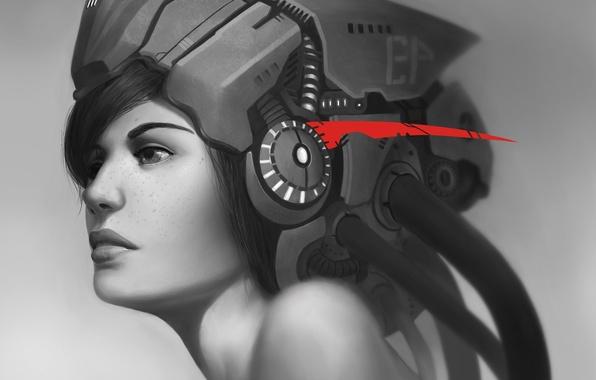 Картинка девушка, будущее, красное, провода, наушники, арт, веснушки, шлем, черно-белое, монохромное