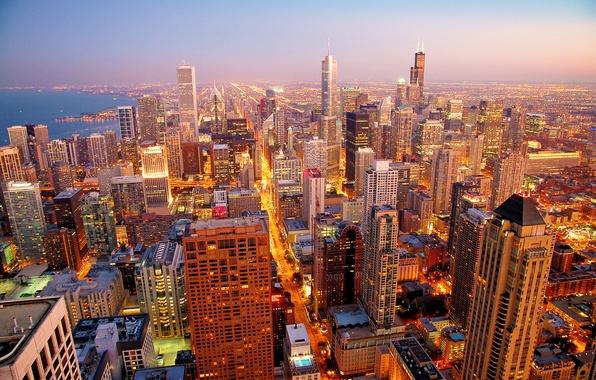 Картинка city, город, рассвет, небоскребы, Chicago, morning