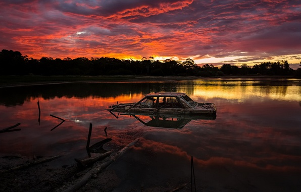 Картинка машина, ночь, озеро