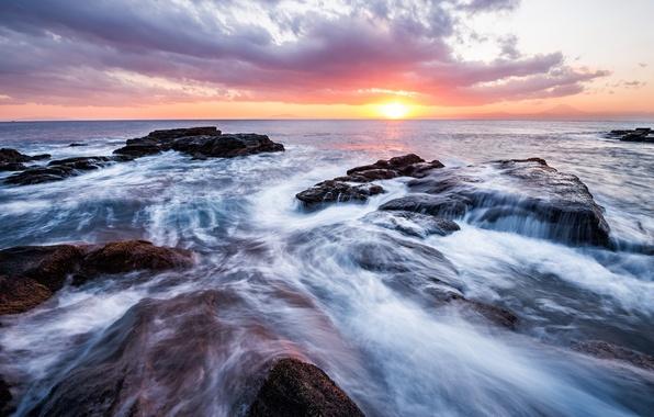 Картинка море, небо, солнце, облака, закат, камни, берег, вечер, Япония, горизонт, прибой, Канагава, префектура