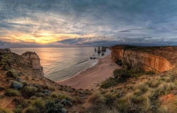Картинка пейзаж, закат, природа, океан, скалы, Виктория, Австралия, национальный парк, Порт Кэмпбелл