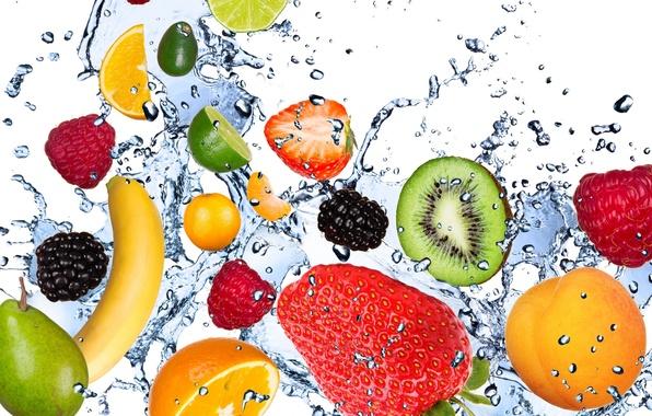 Картинка вода, капли, брызги, свежесть, малина, лимон, киви, клубника, лайм, lemon, фрукты, банан, абрикос, fresh, мята, …