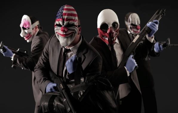 Картинка игры, оружие, маски, games, клоуны, грабители, payday 2
