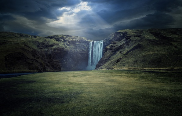 Картинка природа, река, водопад, waterfall, Iceland, Skogafoss, Skoga River