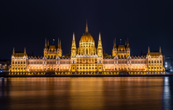 Картинка вода, свет, ночь, город, огни, река, здание, освещение, парламент, Венгрия, Hungary, Будапешт, Дунай, Budapest, Magyarország, …
