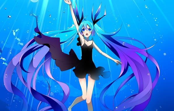 Картинка девушка, рыбы, пузыри, арт, vocaloid, hatsune miku, под водой, вокалоид, temari, shinkai shoujo, deae