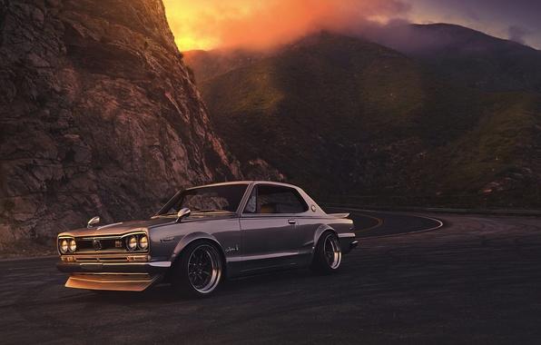 Картинка Nissan, GTX, Car, 2000, Front, Sunset, Skyline, Old