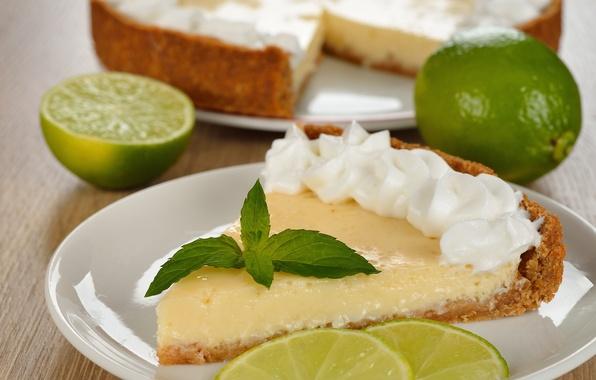 Картинка мята, выпечка, лаймовый пирог, дольки лайма