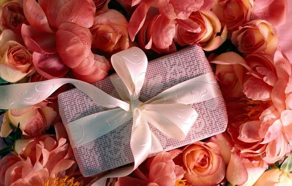 Картинка цветы, ленты, коробка, подарок, розы