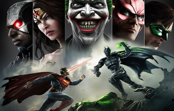 Картинка улыбка, batman, superman, joker, green lantern, flash, Wonder women, Injustice: Gods Among Us