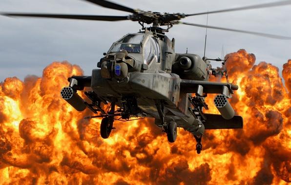 Картинка взрыв, огонь, вертолет, кабина, лопасти, Apache, AH-64D, напалм