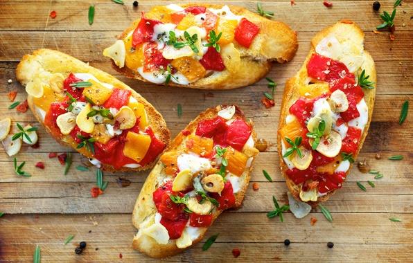 Картинка зелень, хлеб, кусочки, перец, овощи, помидоры, специи, тосты, cheese, бутерброды, pepper, tomato