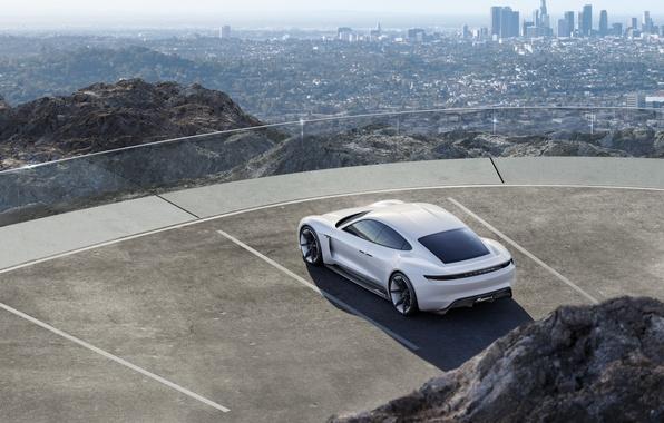 Картинка Concept, город, гора, Porsche, стоянка, парковка, white, вид сверху, 2015, Mission E
