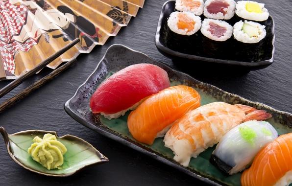 Картинка еда, рыба, рис, суши, роллы, креветки, васаби, лосось, тунец, филе