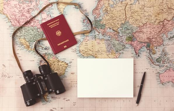Картинка map, paper, pen, binoculars, plans, Travel planning map