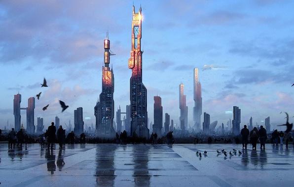 Картинка Город, Будущее, Птицы, площадь, Люди, Здания, Арт, Небоскреб