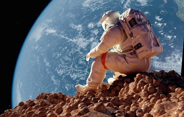 Картинка камни, ситуация, космонавт, Луна, Земля, сидит, астронавт, astronaut