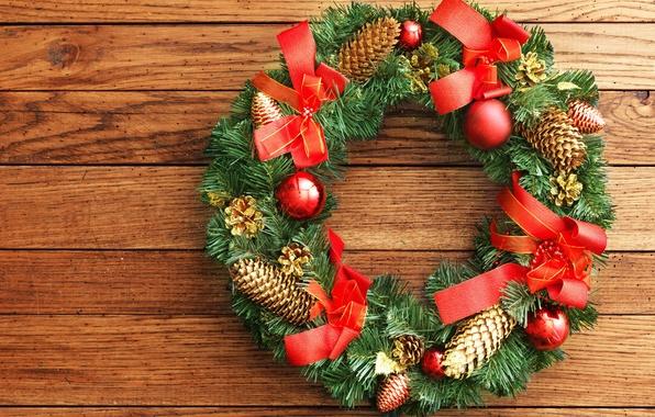Картинка цветы, красный, ленты, фото, праздник, шары, милая, шар, красота, colors, Рождество, фотографии, red, Christmas, венок, …