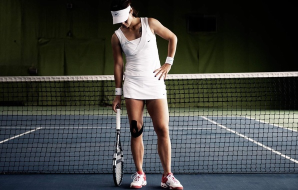 Картинка девушка, сетка, ракетка, кроссовки, теннис