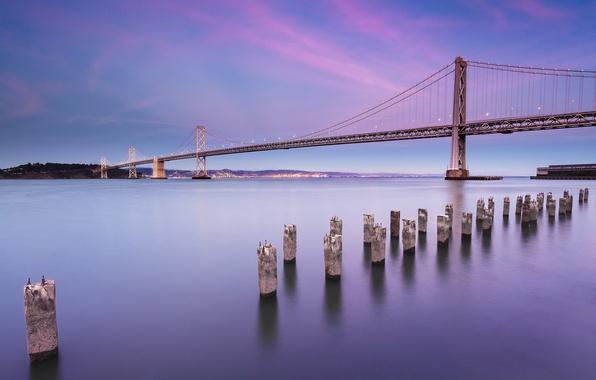Картинка небо, облака, пейзаж, мост, city, город, пролив, берег, вечер, освещение, фонари, Калифорния, Сан-Франциско, USA, США, …