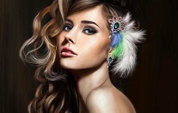 Картинка взгляд, девушка, украшения, лицо, волосы, перья, макияж, арт, красивая, кудри, локоны