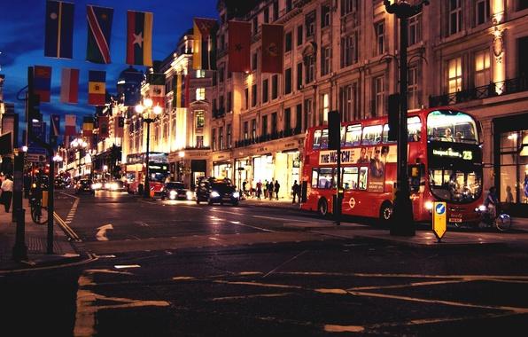 Картинка дорога, машины, ночь, город, люди, Англия, Лондон, здания, дома, вечер, перекресток, Великобритания, автобус, London, England, …
