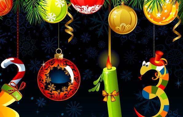 Картинка украшения, снежинки, праздник, шары, змея, свеча, Рождество, Новый год, 2013