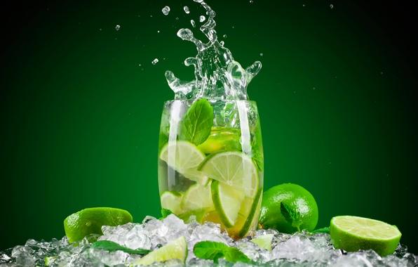 Картинка вода, стакан, лёд, всплеск, лайм, напиток, мята
