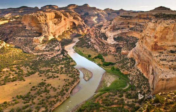 Картинка небо, горы, река, скалы, Колорадо, США, Dinosaur National Monument, Yampa River