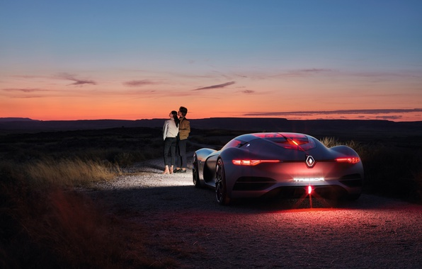 Картинка car, concept, Renault, girl, grass, sky, landscape, woman, cloud, mountain, people, man, couple, valentines, luxury, …